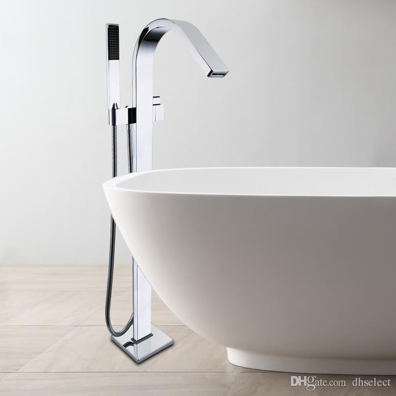 Bath Floor Standing Bath Tub Waterfall Faucet Mixer Set Large Water ...