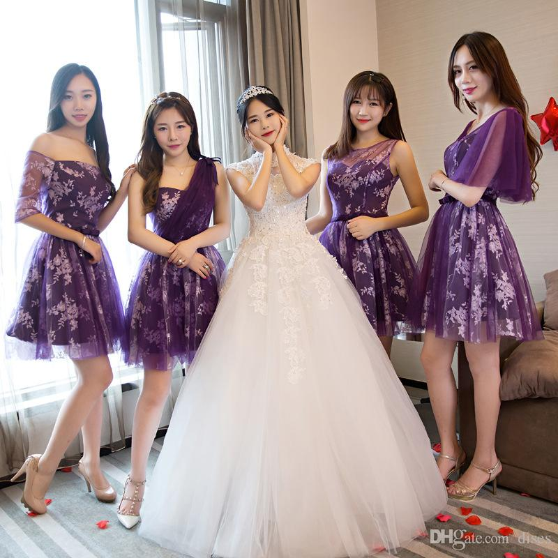 83b515d6403d 2019 Bridesmaid Dress New 2018 Summer Short Bride Sister Skirt Short  Section Was Thin Bridesmaid Group Purple Evening Dress Female Banquet From  Dises, ...