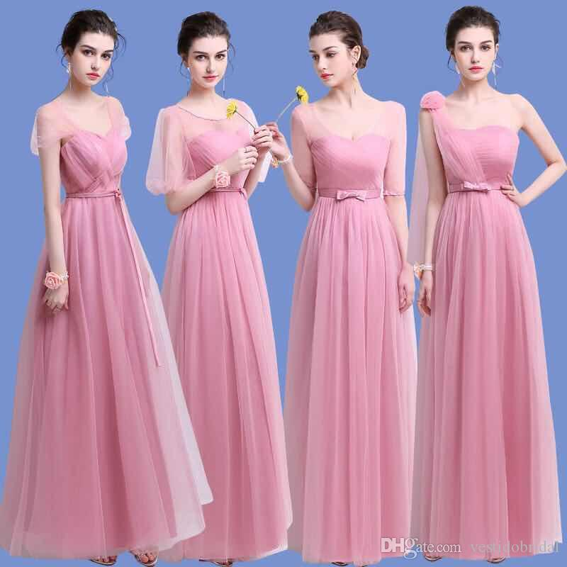 In Stock Cheap Bridesmaids Dresses Long 2018 Ruched A Line Tulle ...
