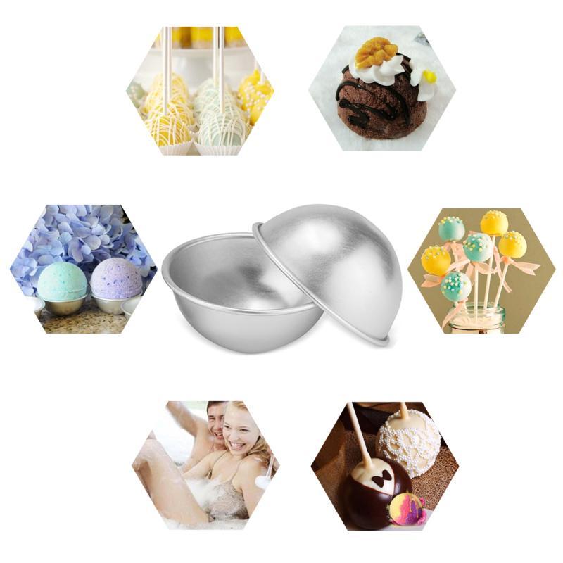 Stampi di bomba di bagno in alluminio di alta qualità palla a metà rotonda fai da te in metallo bomba da bagno in bagno muffa Fizzy bombe a sfera rotonda fatti in casa