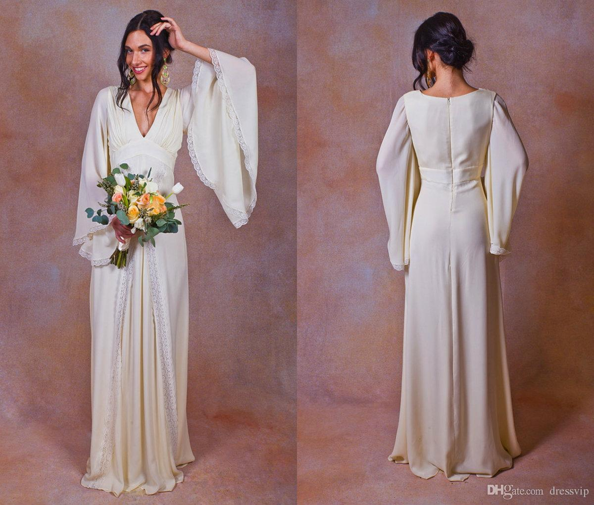 Discount 2018 Ivory Pure Silk Bohemian Wedding Dress Bell Sleeves ...