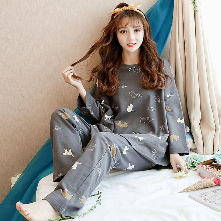 ec81d45b1077 Autumn Cartoon Fashion Print Pajamas Sets Women Loose Long Batwing Sleeve  O-neck Cotton Sleepwear Animal Cat Girl Home Nightgown Pajama Sets Cheap  Pajama ...