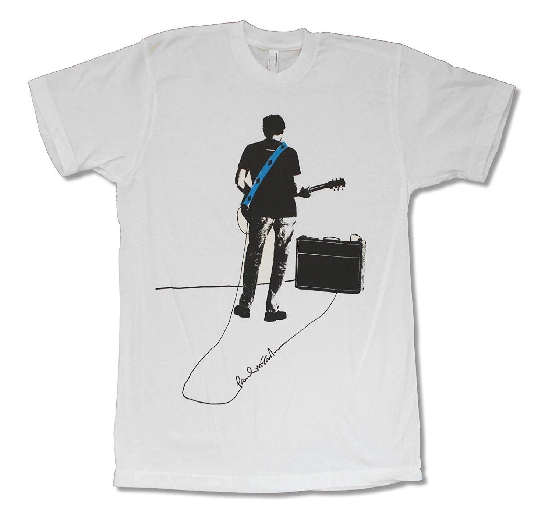 Adult Paul McCartney Signature amp White T-Shirt Mens 2018 Cheap wholesale  tees 100% Cotton For Man T shirt printing
