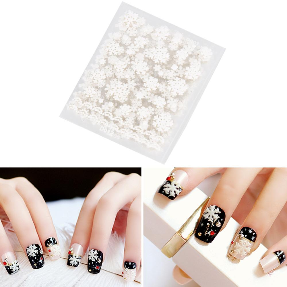 12 Sheets Christmas White Snowflakes Design Cute 3d Nail Art