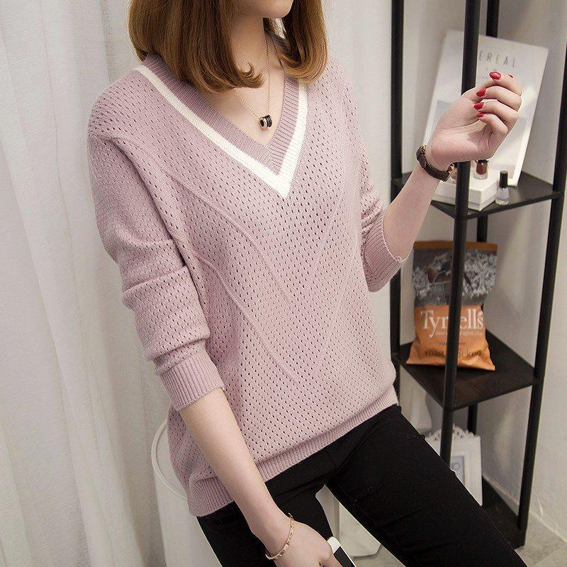 5ed8110b1d4365 2019 Women Sweaters And Pullovers 2019 Spring Autumn Korean Hollow Sweaters  Womens Loose Knitted Sweater Female V Neck Pullover Tops From Stephanie12