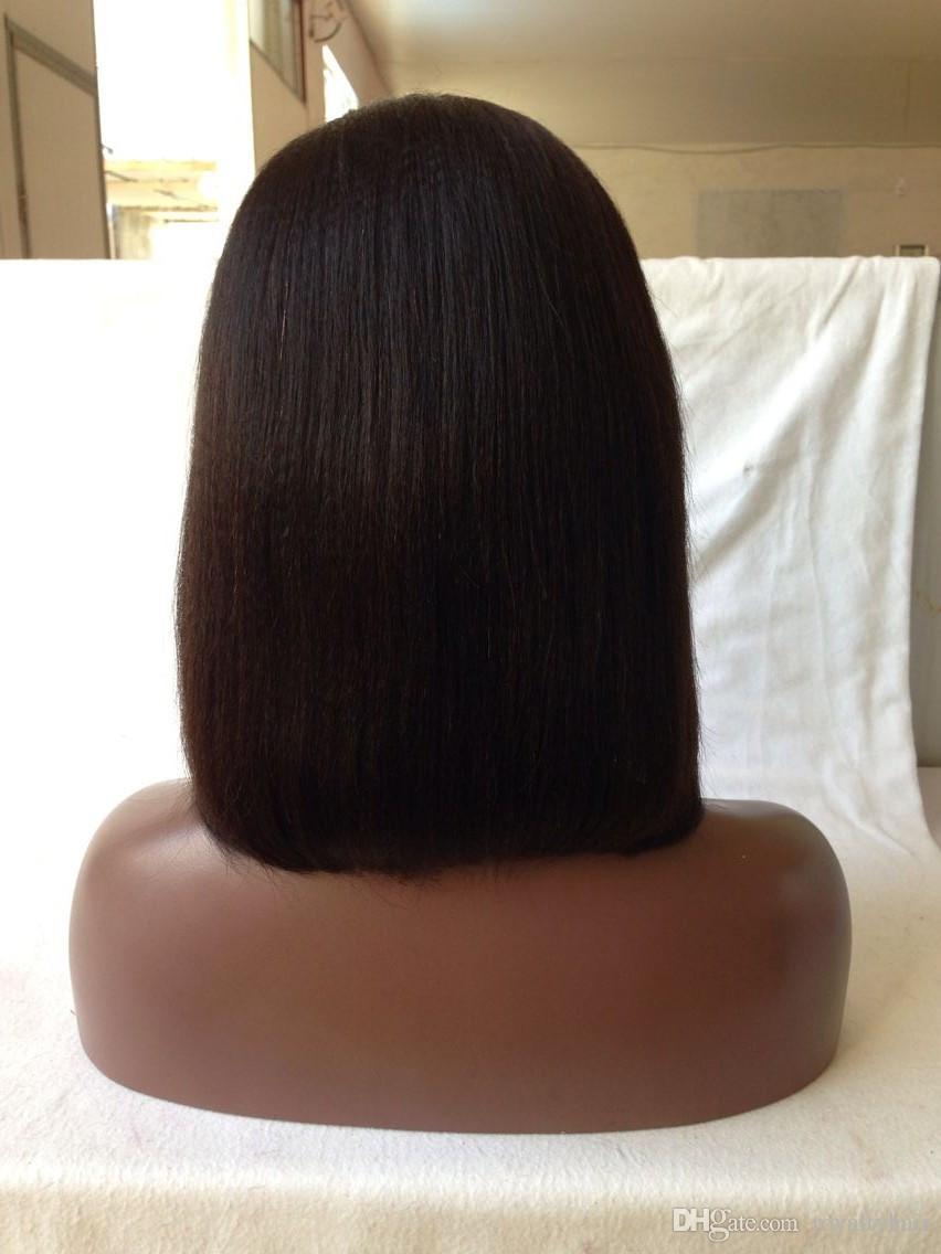 8A 1 * 3 Ouverture à gauche U Partie Perruques Lumière Yaki Droite Cheveux Vierges Brésiliens Courts U Partie Bob Perruque Pour Femmes Noires Upart Perruque Cheveux Humains