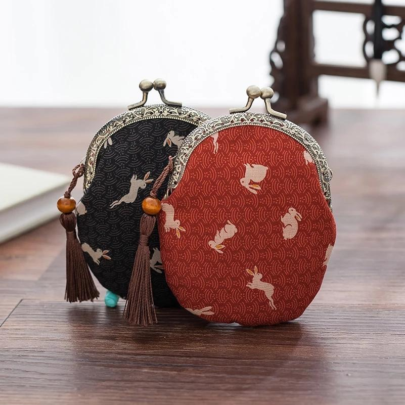 Japanese style literary style vintage cotton and linen gold coin purse mini headphone decorative bag fashion fabric small bag