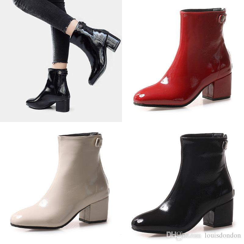 2018 new arrival fashion ankle boots for women patent leather booties pure color shining red black chunky heels back zip high quality shoes