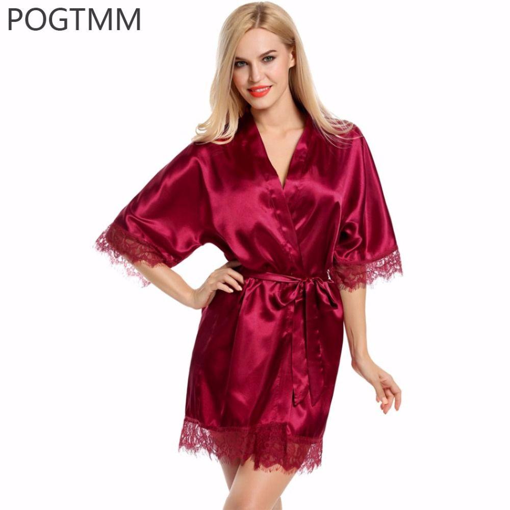 33b2ebea002ec Sexy Wedding Bridal Dressing Gown Women Satin Bride Robe Bridesmaid Lace  Kimono Bathrobe Summer Nightwear Plus Size Peignoir Red