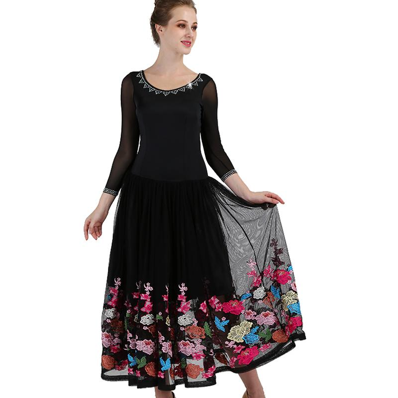 Women Ballroom Dance Dress Diamond Print Big Swing Dresses For Lady Waltz Tango Dance Performance/Practice Costumes DL2749