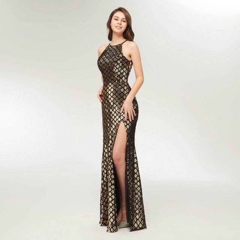 2018 Unique Sparkly Gold And Black Evening Dresses Side Split Hollow