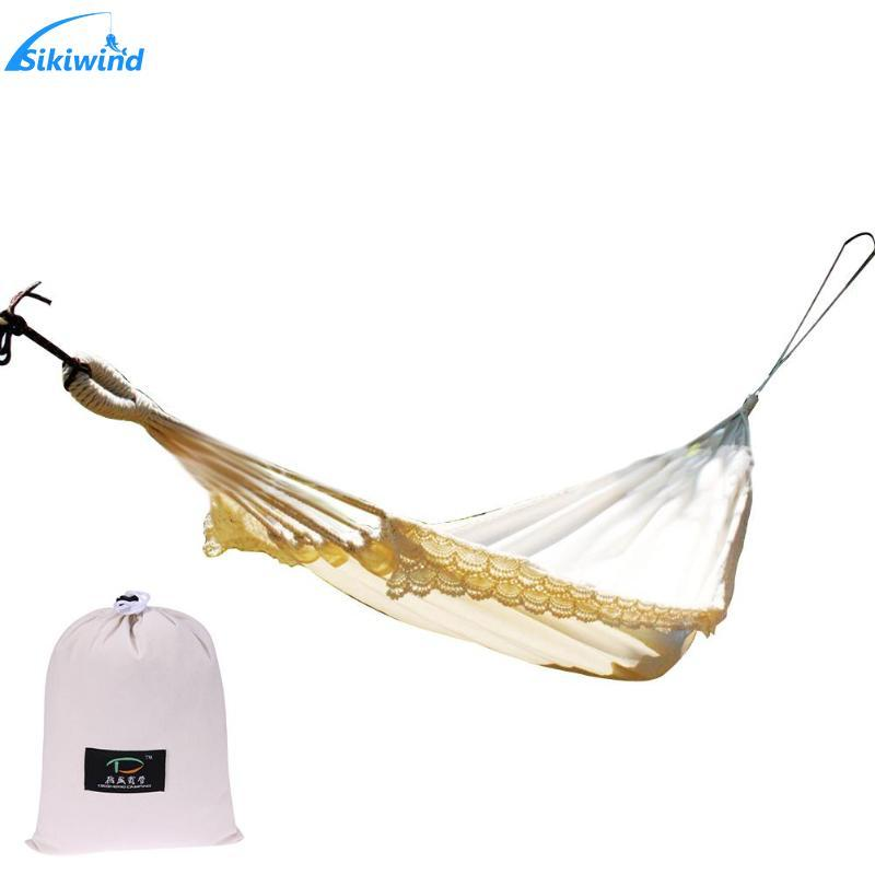 Outdoor Swing Chair White Cotton Stick Steady Hammock with Tassel for Hiking Camping Garden Swing Hanging Chair Hangmat