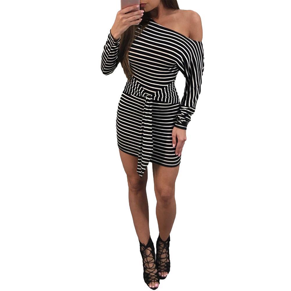 707e1e9c0fc Sexy Women Striped Mini Dress One Shoulder Waist Strap Knot T Shirt Dress  Long Sleeve Slim Short Pencil Bodycon Dress Vestidos Black Dresses On Sale  Knee ...