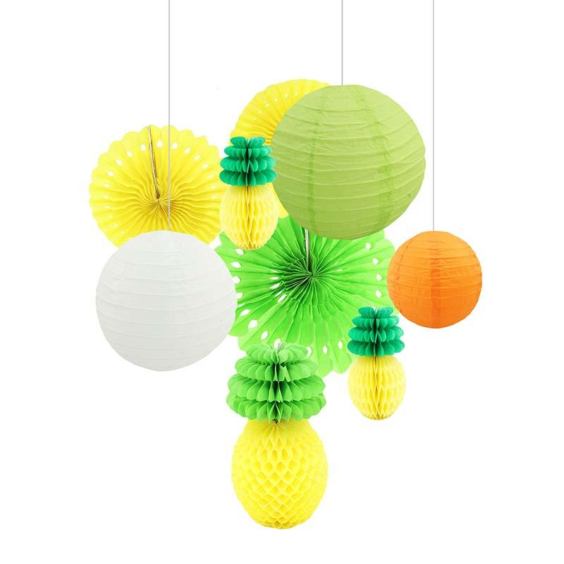 Pineapple ball paper lantern paper fan for hawaii luau party pineapple ball paper lantern paper fan for hawaii luau party decorations beach theme summer wedding party festival supplies party decorations supplies party junglespirit Image collections