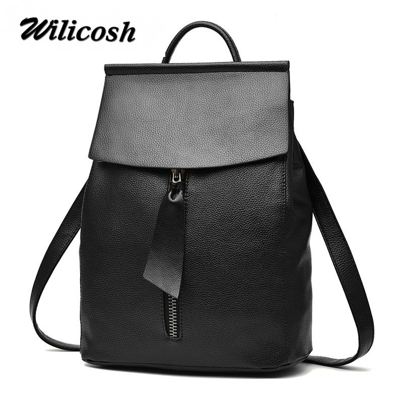 35bcfb19a4 Wilicosh 2017 Fashion PU Leather Backpacks For Teenage Girls Women Backpack  Female School Bags School Bag For Teenager DF0213 Leather Backpack Laptop  ...