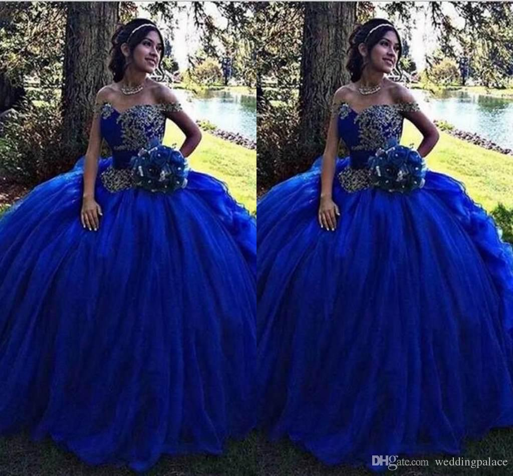 cf7758e53da Hot Sale Royal Blue Ball Gown Quinceanera Dresses 2018 With Lace Applique Sweet  16 Pageant Prom Dresses Party Gown Mary Quinceanera Dresses Modern ...