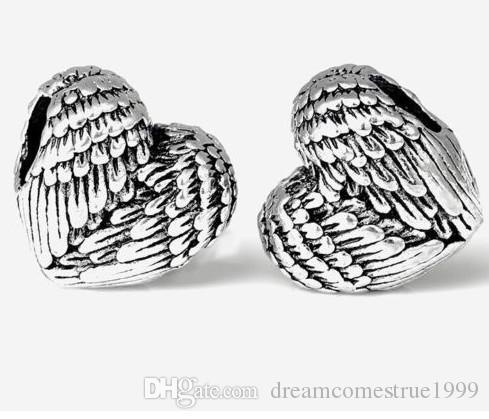 / التبتية فضة القلب أجنحة الملاك الخرز سحر لصنع المجوهرات 11x11.5mm hole4.5mm