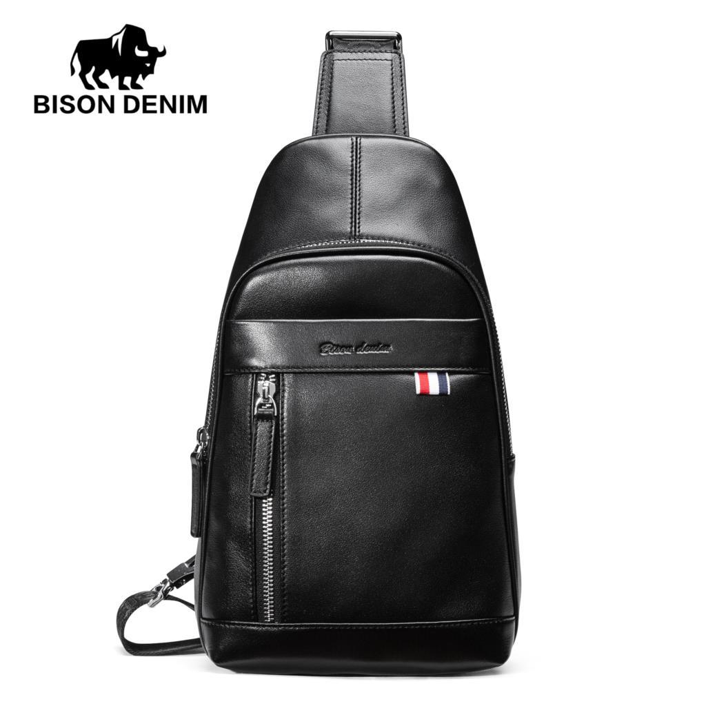 e3e6948d8b BISON DENIM Genuine Leather Crossbody Bags Men Casual Small Chest Shoulder  Bag High Quality Cowskin Leather Travel Bag N2770 Messenger Bags For Women  ...