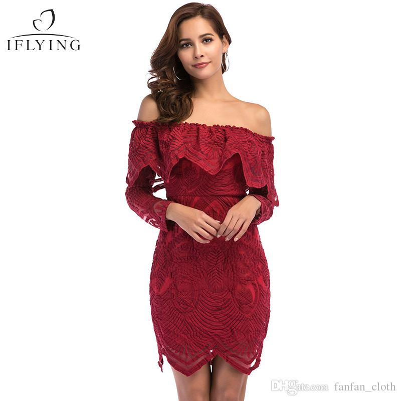 e05ed94f176 2019 Women Slash Neck Long Sleeve Flower Lace Ruffles Mini Dress Sexy Party  Evening Dress Wine Red Casual Backless Off Shoulder Vestidos Dress From ...