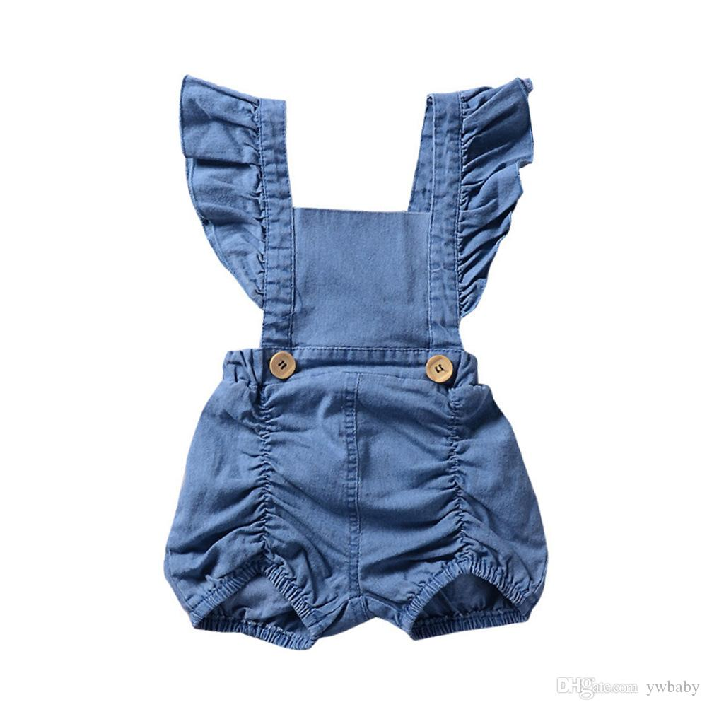 a537247bca0e 2019 Infant Baby Girls Denim Ruffles Rompers 2018 Newborn Baby Girl Clothes  Babies Fashion Flutter Sleeve Jumpsuits Kids Clothing From Ywbaby