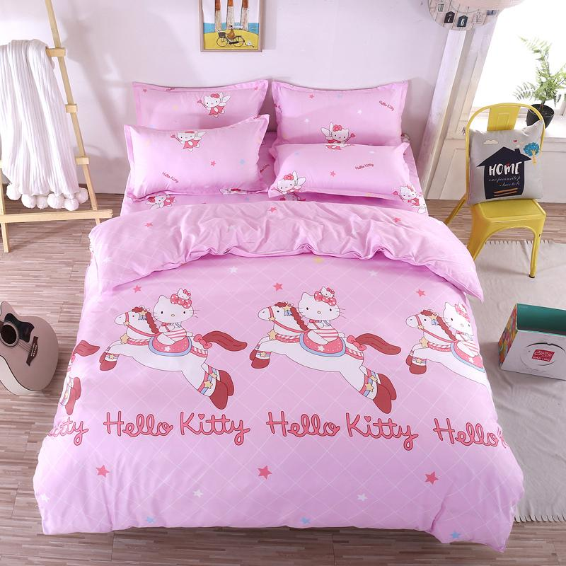 Großhandel Cartoon Hallo Kitty Bettwäsche Sets Rosa Prinzessin