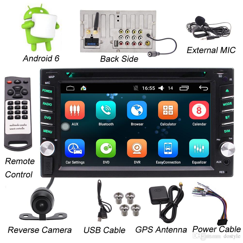 Double DIN Android Stereo Receiver In Dash Car Head Unit car DVD Player &  Rearview Backup Camera 6 2 Touchscreen Wi-Fi Web Browsing App