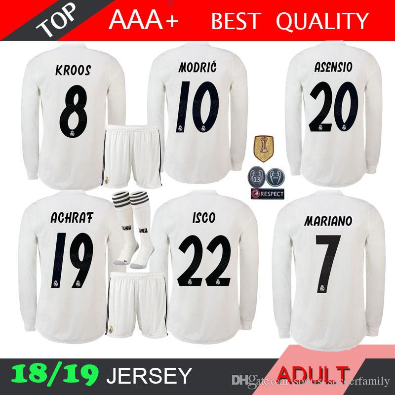18 19 Real Madrid Long Sleeve KIT Soccer Jerseys MODRIC Third Away Red BALE  SOCK ASENSIO 2018 ISCO JERSEY MARIANO SHIRTS SERGIO RAMOS UK 2019 From ... 44b4980cb