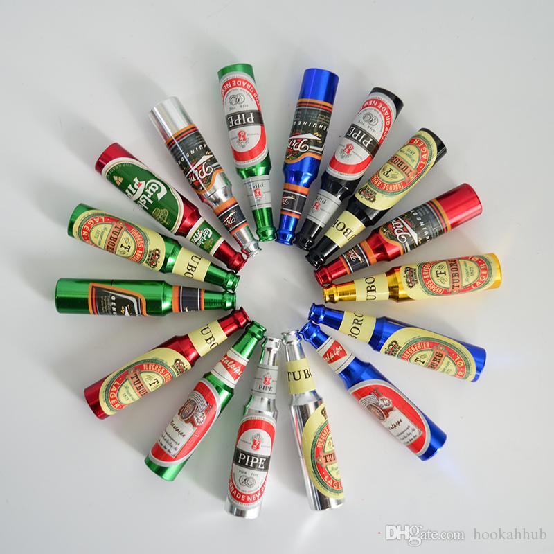 Bouteille de bière Brûleur à mazout Métal Tuyau À La Main Tuyau 2.5 pouce 68mm Tuyau À Bière Métal Motif Mini Marteau De Tabac Herb Tuyaux Alliage D'aluminium