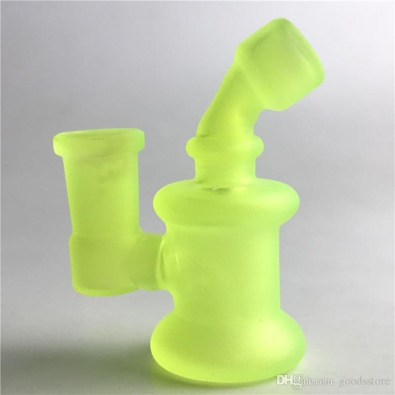 3.2 Inch Glass Mini Bong Water Pipes with 14mm Female Light Shine Glow in the Dark Colorful Glass Recycler Breaker Bongs