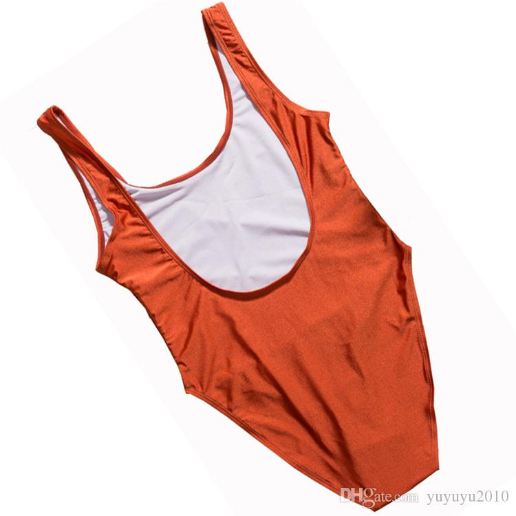 IDFWU One Piece Swimsuit New Print Letter Sexy High Cut Tong Bikini Black Red White Beach Wear Plus Size XL Monokini Body Suit ywxk