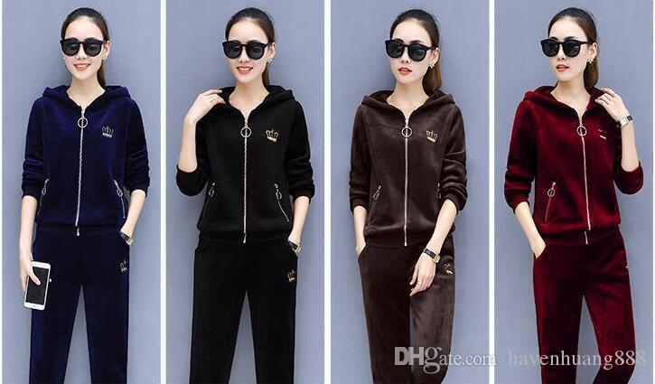 81bd62b3631 2019 Gold Velvet Sportswear 2018 Autumn And Winter Wear New Temperament  Fashion Korean Set Of Women S Loose Casual Sweater Two Piece Suit From  Havenhuang888 ...
