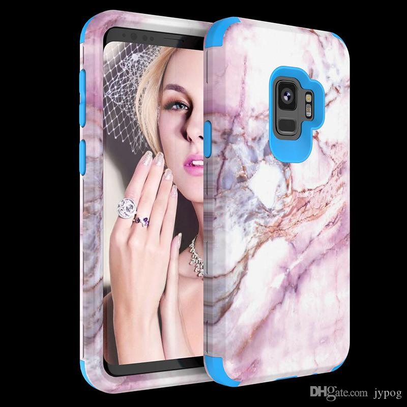 For Samsung S9 S9Plus Case 3in1 Defender Case Pink Marble High Impact Heavy Duty Hard Rugged Rubber Case for Samsung S9
