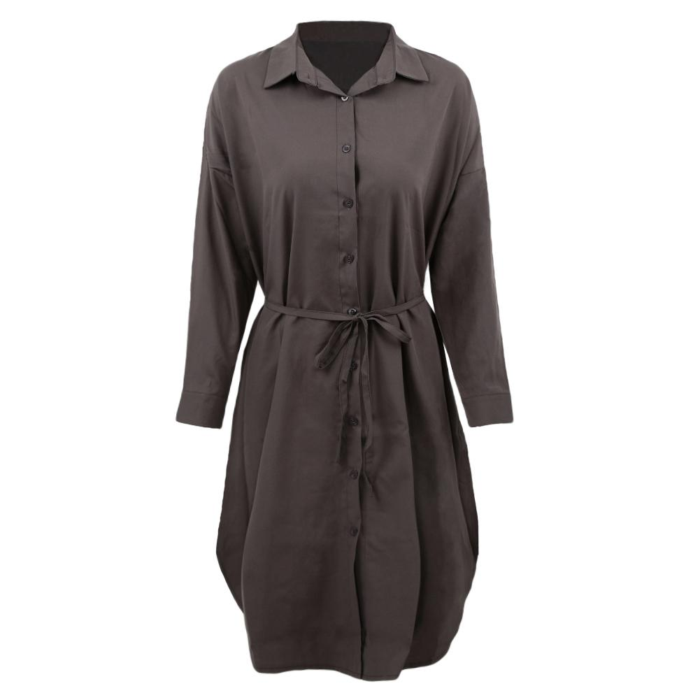 19a147bf7893 2019 2018 New Women Midi Shirt Dress Turn Down Collar Long Sleeve Dress  Button Placket Side Slits Casual Office Grey White From Rykeri