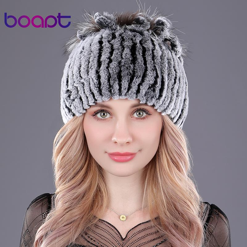 d7b3f1ec7c5 boapt Genuine Rex Rabbit Fur Women s Hats Winter Beanie Striped Head Top  Flower Fox Fur Warm Real Wool Knit Caps Headgear Hat Trilby Mens Hats From  Jutie