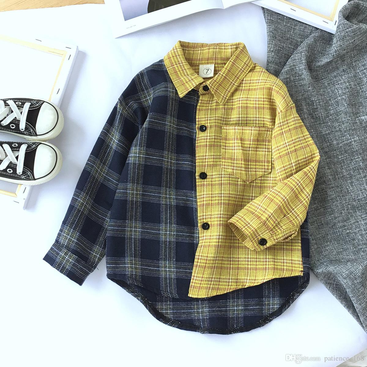 ca93118f070 Plaid Shirt 2018 Autumn Styles INS NEW ARRIVAL Boys And Girls Kids ...