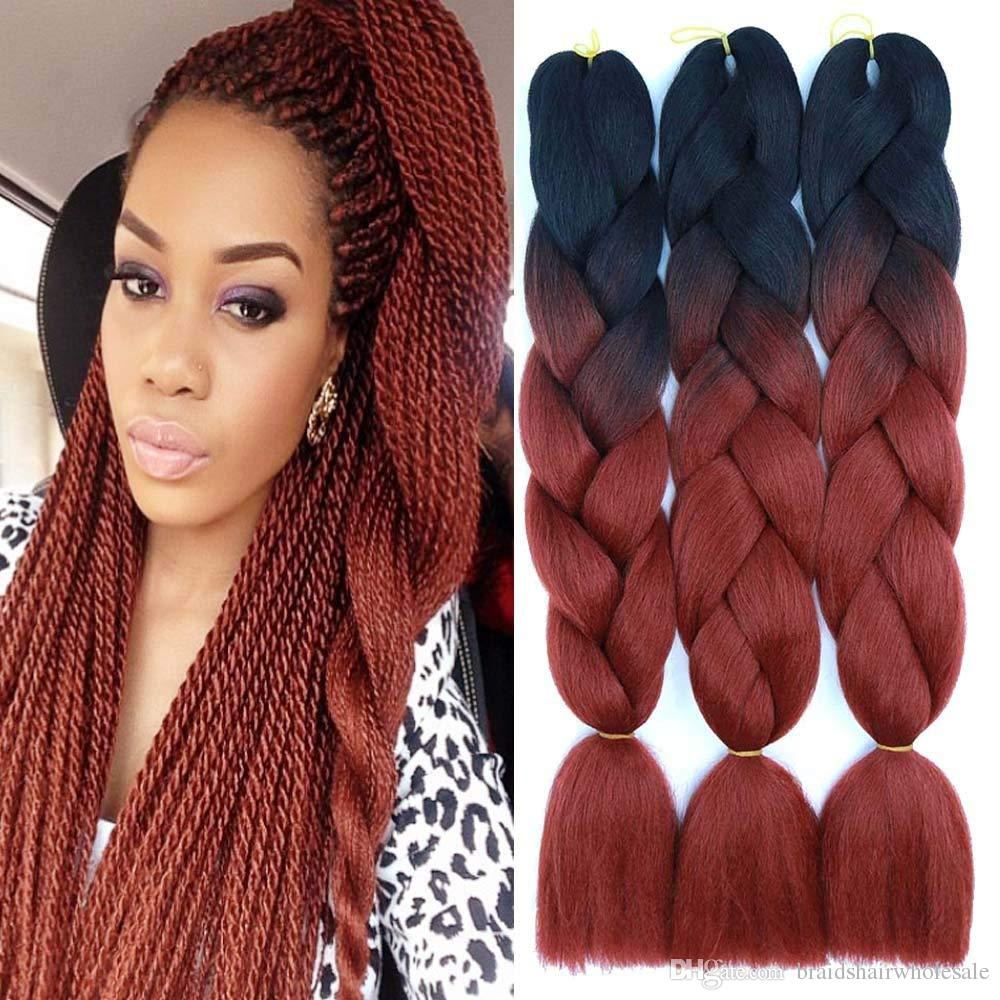 Kanekalon Jumbo Synthetic Braiding Hair Ombre Two Tone 24inch 100g Crochet Braids Twist Synthetic Hair Extensions Synthetic Hair For Braid