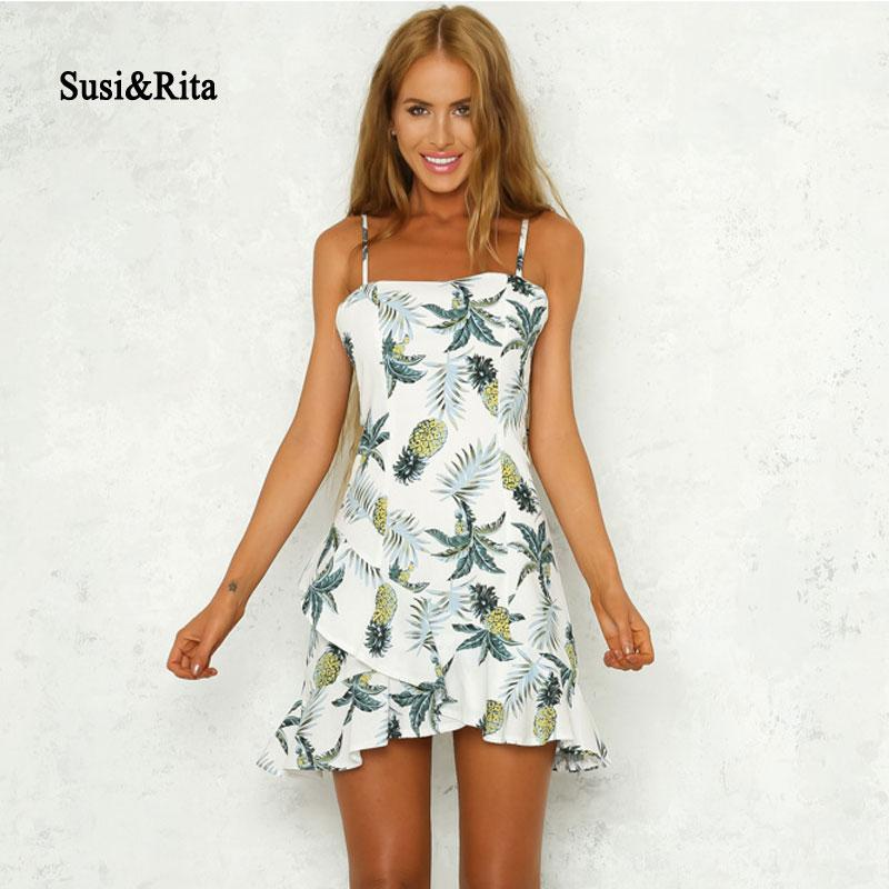 fd97cde5db8 Susi Rita Summer Ruffle Dress Women Boho Pinapple Print Cotton ...