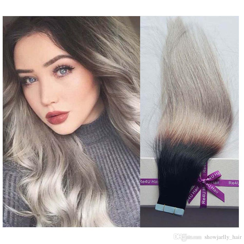 8a Peruvian Tape In Hair Extensions 1b Gray Human Young Women With