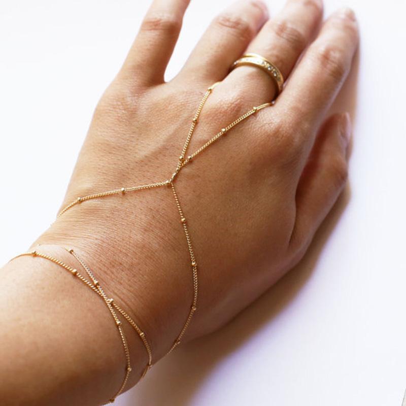 18b7aef7edbc Boho Copper Beads Finger Link pulsera moda simple hecho a mano pulseras  esclavas Lady Girls Charms bohemio verano joyería de la mano