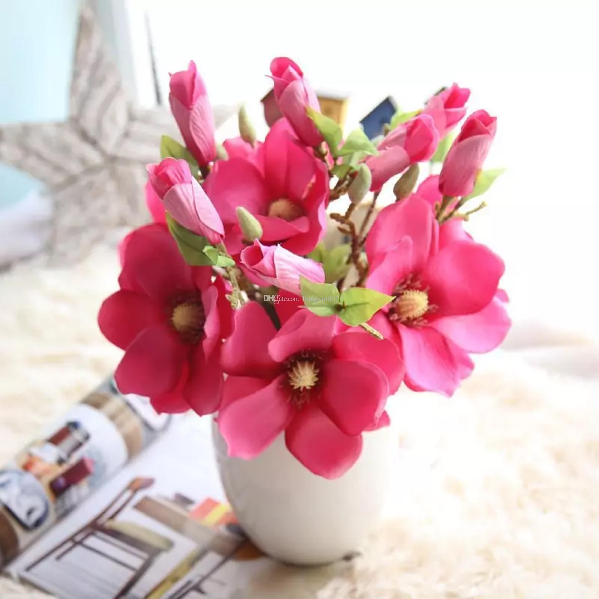 Silk Yulan Magnolia Artificial Flower Bouquets For Wedding Home