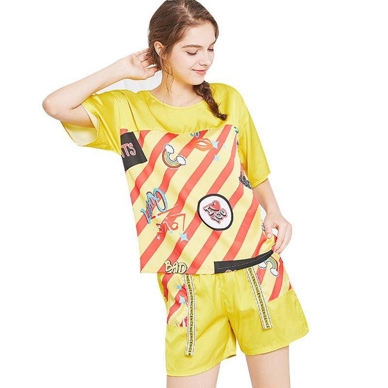 2a2c835ae599 2019 Summer Pajama Sets Womens Sleep Letter Print Comfortable Breathable  Silk Pajamas New Short V Neck Shorts Two Sets Pajama Sets From  Luzhenbao521