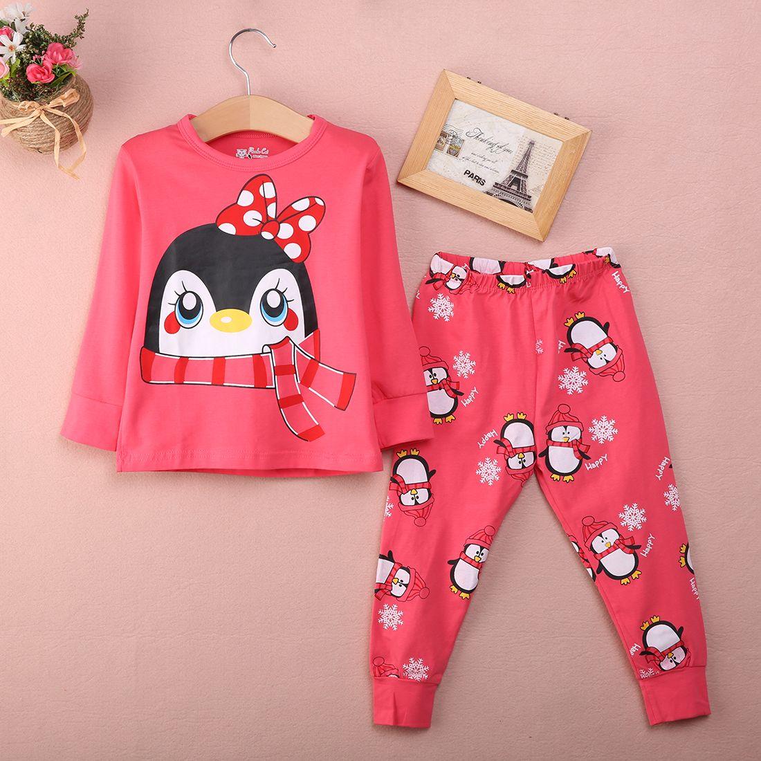 05205dcf7 2017 New Fashion Cute Baby Girl Kids Red Tops Pants Sleepwear ...