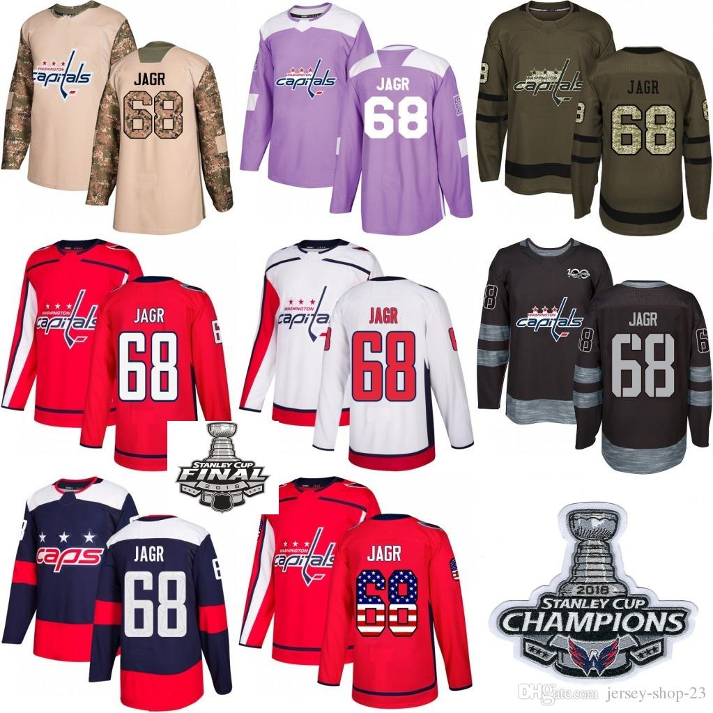 f7d0189b23a 2019 2018 Washington Capitals Stanley Cup Final Patch Champion Patch #68  Jaromir Jagr Red White USA Flag Fashion Purple Hockey Jerseys From Jersey  Shop 23, ...