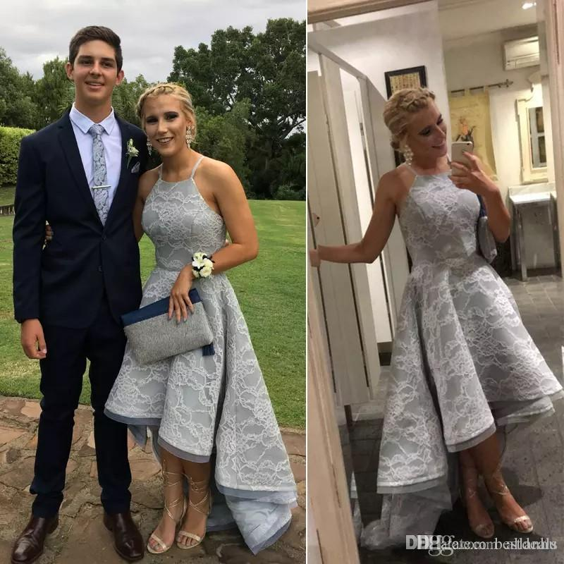 2018 Silver Gray Lace Prom Dresses 2018 A Line High Low Halter Neck Backless Prom Gowns Formal Long Party Dresses Evening Gowns Custom