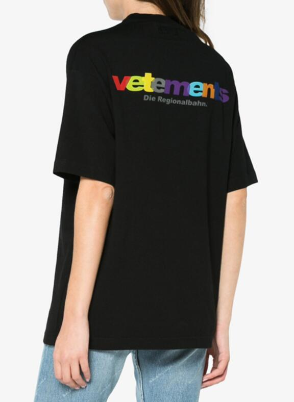 2018 F/W Summer VETEMENTS France flag Haute Couture Rainbow Letter Embroidery men short sleeve t shirt Hip hop Fashion Tee S-XL