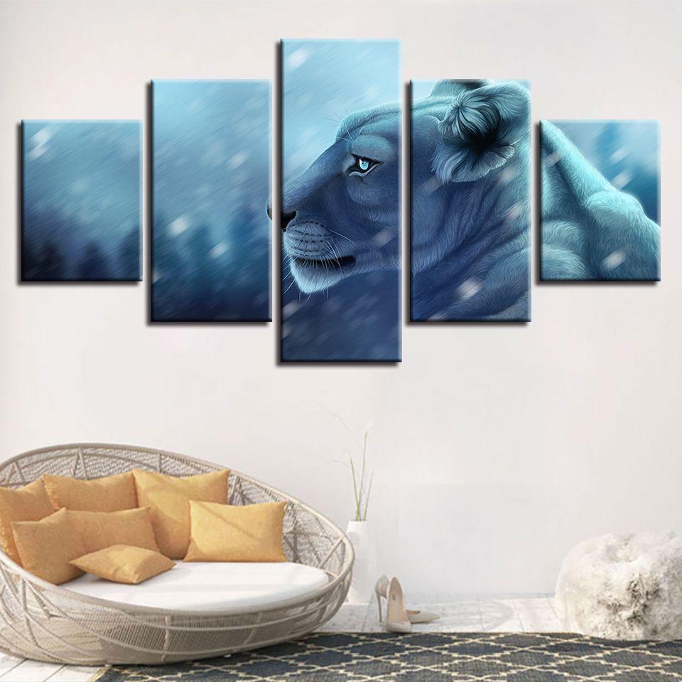 Salon Mur Art Décor Cadre 5 Pièces Animal Tigre Lumineux Yeux Affiche Moderne HD Impression Photos Modulaire Peintures Toile