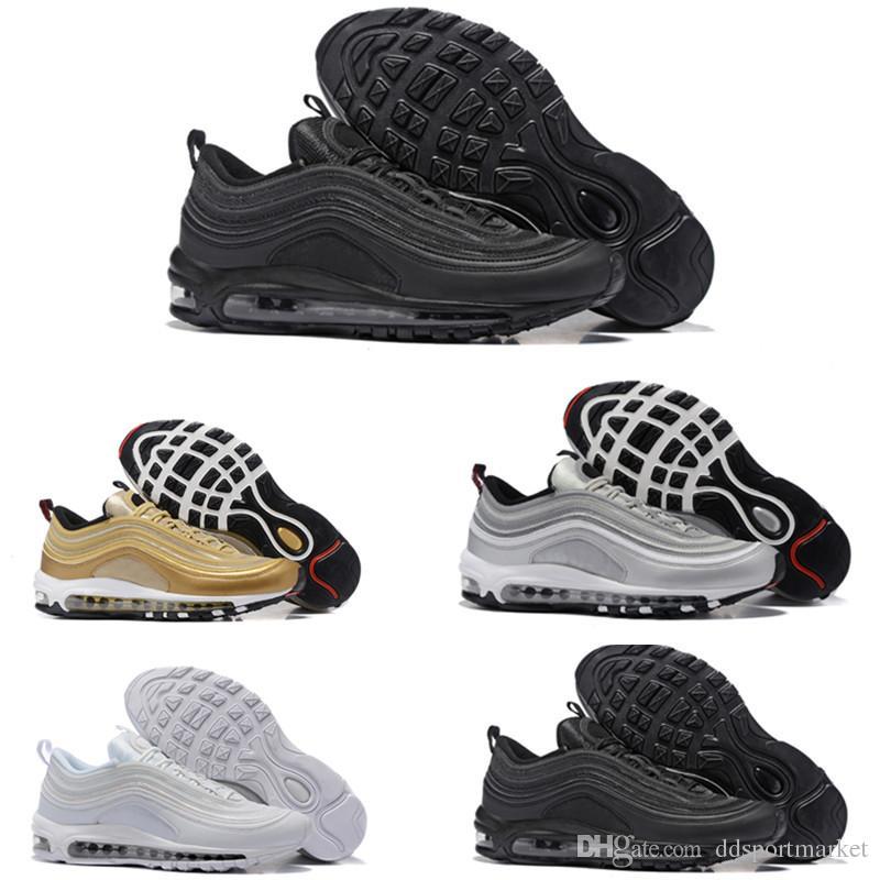 9fce634e241 Compre Nike Air Max 97 Airmax 97 Sapatos Og Triplo Branco Tênis Og Metálico  Ouro Prata Bala Rosa Mens Trainer Mulheres Tênis Esportivos De  Ddsportmarket