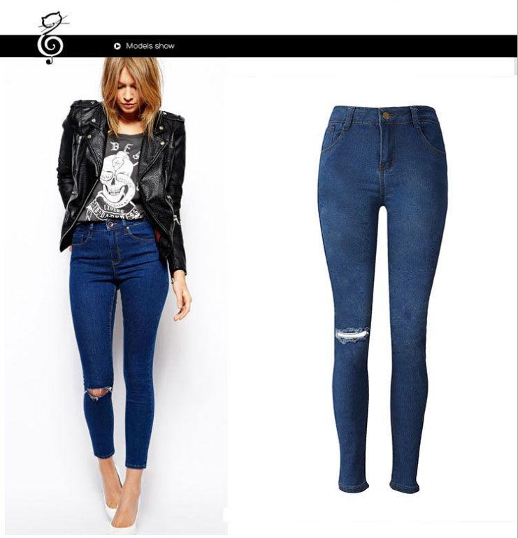 Compre Slim Fit Stretchy Skinny Jeans Para Mujer Pantalon Jeans Rotos Ocasionales Jeans Pantalones De Mezclilla Jeans Slim A 11 8 Del Sharonponn Dhgate Com