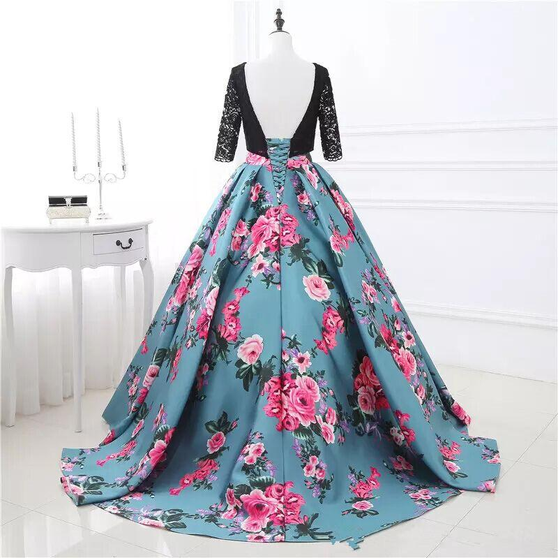 Real Image Print Evening Dresses Flowers Printed Prom Ball Gowns Two Stones Special Occasion Dresses Lace Party Evening Wear Back Lace up