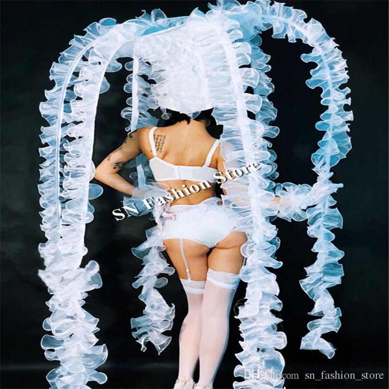 DC29 Ballroom dance costumes led factory catwalk models performance show wears sexy dresses bar club stage skirt bikini bra dj headwear ktv
